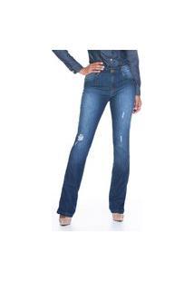 Calça Bootcut Jeans Lúcia Figueredo Azul