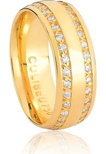 Aliança De Ouro 18K Larga Anatômica Com Diamantes-Alianças Exclusivas Coliseu