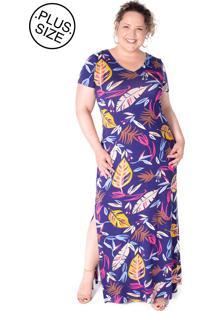 fb6ae57ba Dafiti. Vestido Azul Marinho Decote V Fenda Plus Size Com Fendas Estampado  Viscose Malha Arimath
