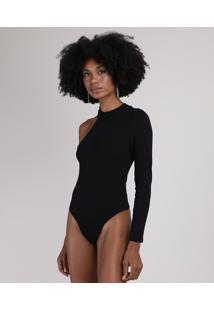Body Feminino Um Ombro Só Assimétrico Canelado Gola Alta Preto