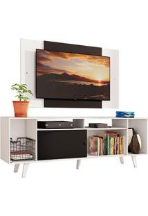 Rack Madesa Cancun E Painel Para Tv Atã© 58 Polegadas Com Pã©S - Branco/Preto 73C7 Branco - Branco - Dafiti
