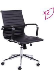 Or Design Jogo De Cadeiras Office Eames Esteirinha Preto & Prateado 2P