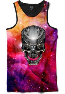 ... Camiseta Insane 10 Regata Caveira Cromada Galáxia Sublimada Preto Roxo 96f4c8a309f