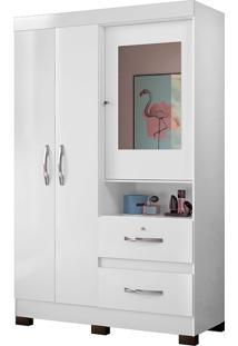 Guarda Roupa Juvenil Com Espelho Urânio 3Portas - Colibri - Branco / Preto / Azul / Pink
