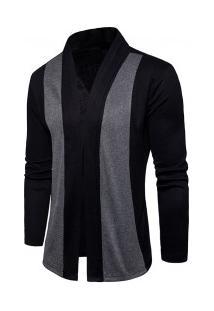 Cardigan Masculino Liso Slim Com Design Assimétrico Frontal - Preto