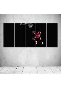 Quadro Decorativo - Michael Jordan Chicago Bulls Basketball - Composto De 5 Quadros
