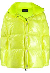 Goose Tech Patent Hooded Padded Jacket - Amarelo