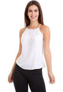 Blusa Kinara Regata Pregas No Busto G - Feminino-Branco