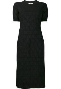 Fendi Vestido Midi Com Padrogem De Logo - Preto