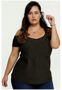 Blusa Feminina Open Shoulder Lurex Plus Size Manga Curta