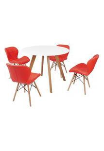 Mesa Inês 100Cm Branca + 4 Cadeiras Eiffel Slim - Vermelha