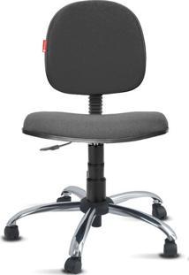 Cadeira Executiva Giratória Cromada Crepe Cinza Escuro