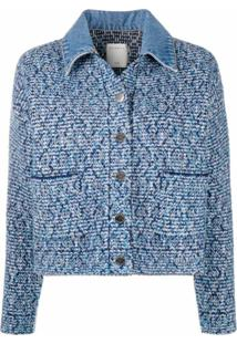 Sandro Paris Jaqueta Jeans De Tweed - Azul