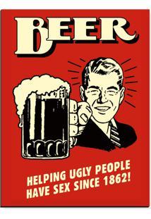 Quadro Adoraria Placa Mdf Beer Vermelho