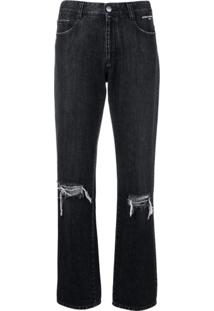 Stella Mccartney Calça Jeans Reta Destroyed - Preto