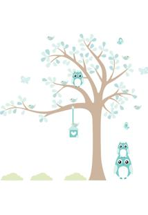 Adesivo De Parede Quartinhos Infantil Árvore Coruja Baby Turquesa