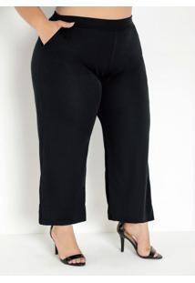 Calça Preta Pantacourt Com Bolsos Plus Size