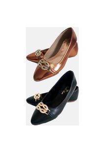 Kit 2 Pares Sapatilha Estilo Shoes Cc057 Bico Fino Cobre