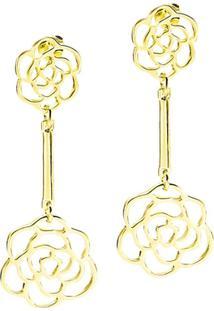 Brinco Banho De Ouro Com Ligadas Por Delicada Haste - Feminino-Dourado