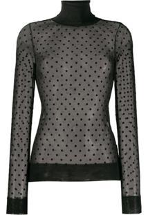 Victoria Beckham Blusa Translúcida Com Poás - Preto