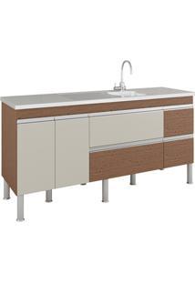 Gabinete Para Cozinha Prisma 86X174Cm Amêndoa E Off White