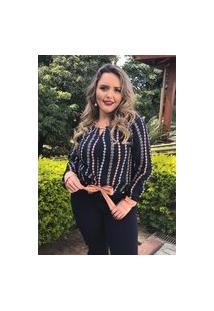 Blusa Feminina Mac-Lu Estampada Com Laço Frente Linha Premium Azul-Marinho Live