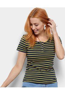 Camiseta Top Moda Listrada Feminina - Feminino-Marinho+Amarelo