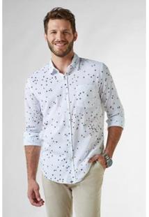 Camisa Reserva Ml Pf Estampada Flores Do Cerrado Masculino - Masculino-Branco