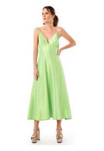 Vestido Tafeta Bojo Verde Limão