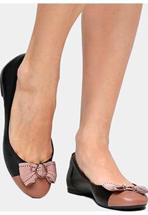 Sapatilha Couro Shoestock Gorgurão Feminina - Feminino-Preto