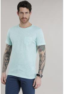 Camiseta Com Bolso Verde Claro