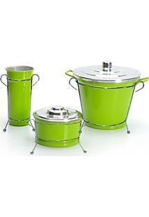 Kit De Pia Aluminio Com Suporte Lixeira (Verde Color)