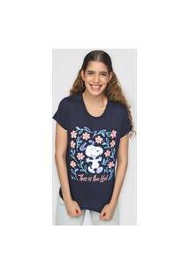 Camiseta Snoopy By Fiveblu Snoopy Floral Azul-Marinho