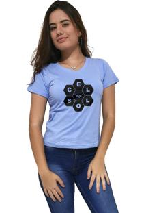 Camiseta Feminina Gola V Cellos Honey Premium Azul Claro