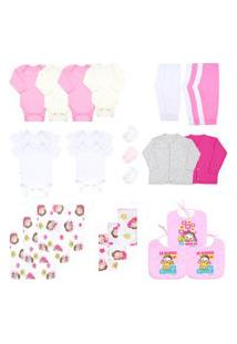 Kit Enxoval Bebê Feminino (28 Peças) - Bebê Fofuxo - Tamanho Único - Rosa,Branco,Creme