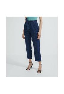 Calça Jeans Reta Com Amarração Em Cinto Faixa E Bolsos Com Lapelas | Cortelle | Azul | 42