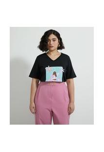 Blusa Manga Curta Em Algodão Com Estampa Mulher Emponderada Curve & Plus Size | Ashua Curve E Plus Size | Preto | Eg