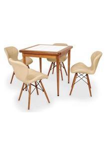 Conjunto Mesa De Jantar Em Madeira Imbuia Com Azulejo + 4 Cadeiras Slim - Nude