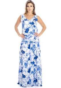 Vestido Longo Orquídeas Ana Hickmann - Feminino-Azul