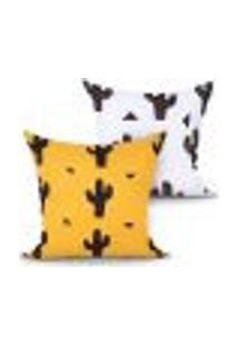 Capa Almofada Decorativa Cacto Amarela E Branca Kit Com 2 Unidades 45Cm X 45Cm Com Zíper