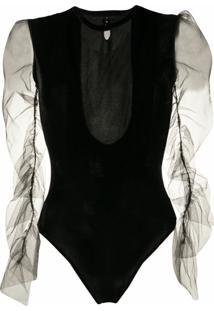 Alchemy Body Translúcido Nas Mangas - Preto