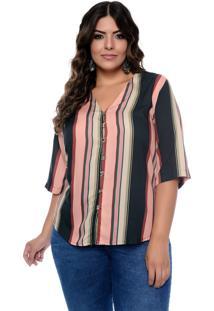 Camisa Prelúdio Plus Size Listrada Azelhas Rosa