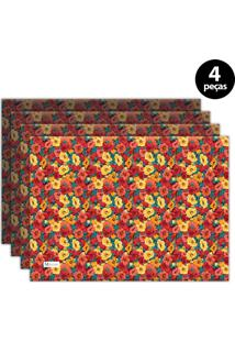 Jogo Americano Mdecore Floral 40X28 Cm Vermelho 4Pçs