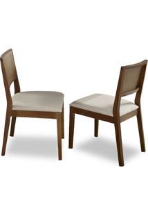 Cadeira De Jantar Lumia (Kit C/ 2 Peças) Ref 2084 - Castanho Claro Tec Bege