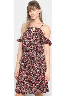 Vestido Lily Fashion Ombro A Ombro Floral - Feminino-Preto