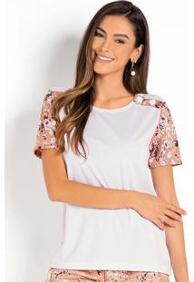 Blusa Floral Branca Com Botões Decorativos