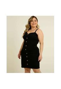 Vestido Plus Size Feminino Botões Alças Finas