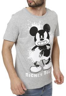 Camiseta Manga Curta Masculina Disney - Masculino-Cinza