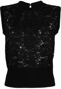 Dolce & Gabbana Blusa Sem Mangas Com Detalhe De Renda - Preto