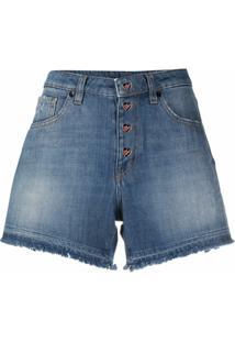 Love Moschino Bermuda Jeans Com Barra Desfiada - Azul